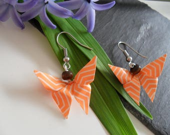 Silvered with origami butterfly earrings