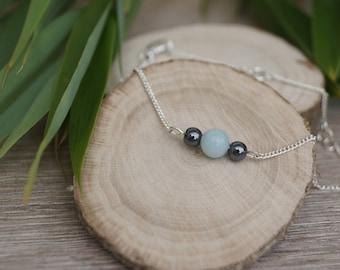 Bracelet semi-precious blue and gray beads