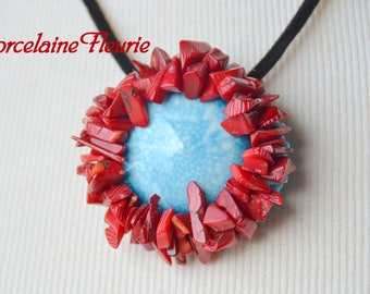 Round porcelain - red coral chips necklace and cabochon turquoise porcelain