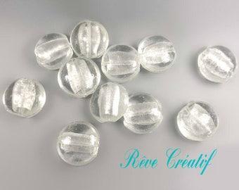 4pcs Perles Rondes Bombées Galet 25mm x 13mm Perles en Verre Transparent et Feuille d'Argent