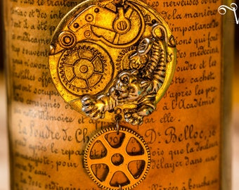 Steampunk pendant mechanism COG and wing - Tiger Tiger inspired necklace