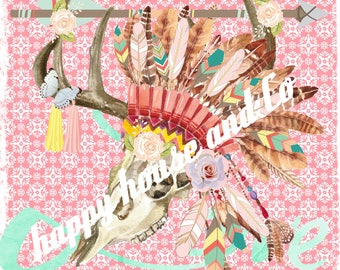 """Digital to make transfers yourself """"skull pink feathers Indian 1"""""""