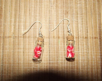 Earrings hand made bottle with polymer clay.