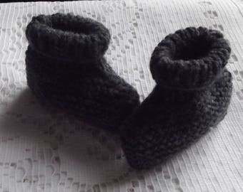 Gray baby booties, baby.