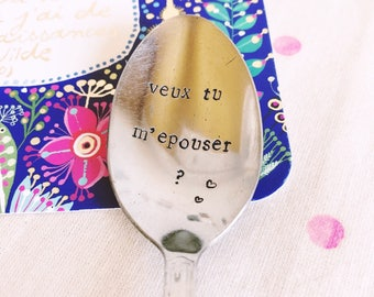 """Marriage proposal spoon """"will you marry me?""""-engraved spoon"""