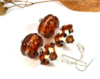 Nougatine, Venice glass blown earrings, lampwork art, Swarovski elements, sterling silver