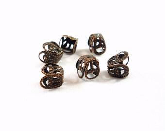 20 bead caps, copper filigree, 8X5mm (ap75)