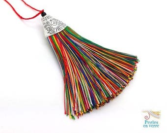 1 large tassel multicolor 70mm Cup silver for Necklace (div83)