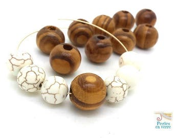 10 large wood beads round 15mm (pb61)