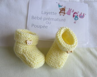 Doll or premature baby clothing: yellow slippers hand made size 40-45 cms baby knitting pattern