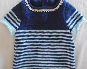 Navy baby girl dress handmade 0/3 months in cotton