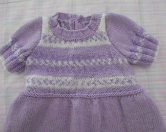 very soft hand knitted baby dress