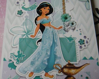 set of 12 pieces for scrapbooking or cardmaking 3D princesses disney, jasmine and Aladdin themed