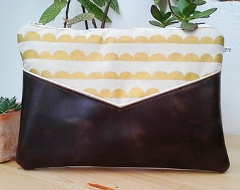 Kokka cream, gold and Brown clutch bag