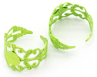 10 green adjustable filigree ring blank shiny 8mm tray