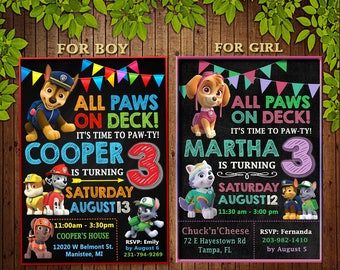 Paw Patrol Invitation, Paw Patrol Birthday Party, Paw Patrol Birthday Invitation, Personalized, Dogs Invite, Paw Patrol Digital File