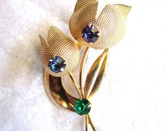 50s 60s Pin Flower Gold Tone Rhinestones Purple Blue Green Brooch