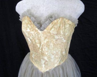 M 40s 50s 2pc Gown Ecru Lace Taupe Tulle Satin Strapless Evening Formal Dress Prom Party Cream Candlelight Satin Dress Jacket Medium