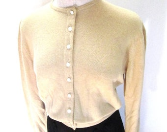 M L 50s Dalton Cashmere Cream Wool Cardigan Sweater Jumper Button Up Front Crew Neck Medium Large