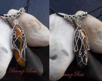 Hand crafted wire wrapped tigers eye/hawks eye necklace