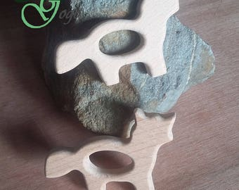 Natural wooden teething ring. Fox shape.