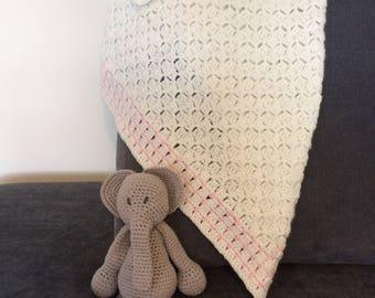 Beautiful C2C, Crochet Baby Girl Cream And Pink Blanket, Afghan