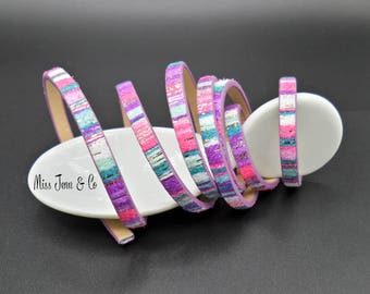 20 cm of purple and multicolored 5 mm faux leather