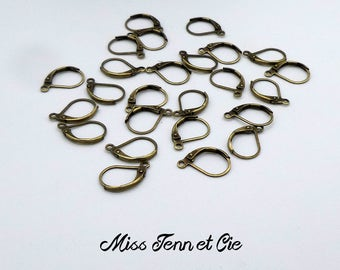 10 blank earrings sleepers bronze 16 x 10 mm
