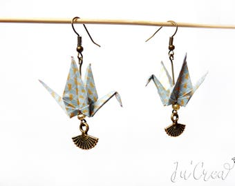 Origami crane gray earring