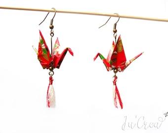 Origami crane earring red tassel