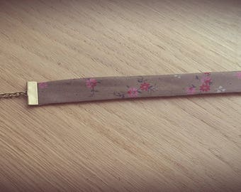 Fabric bracelet taupe Ribbon with flowers