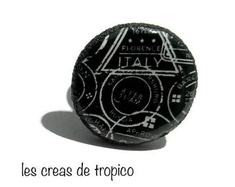 "ring polymer clay ""adventure"" white and black (fimo, premo, cernit)"