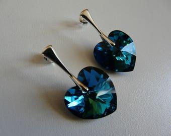 EARRINGS - SWAROVSKI BERMUDA BLUE - 925 STERLING SILVER CRYSTAL HEART