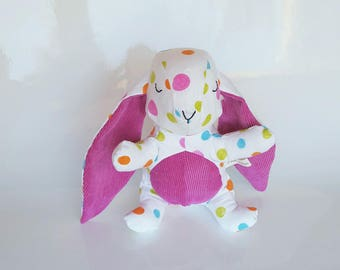 Handmade plush rabbit 17cm in cotton with multicolored dots