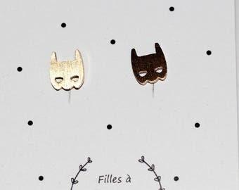 Gold batman earrings
