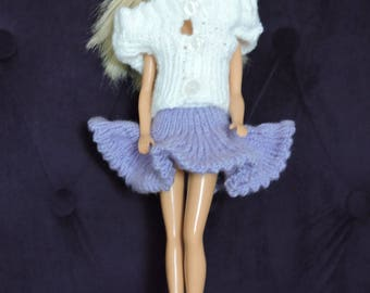 Skirt and sleeveless Cardigan for Barbie, hand knitted