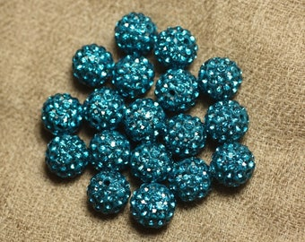 10pc - Pearl rhinestone 10mm blue green 4558550022608 glass and polymer