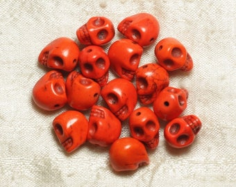 10pc - beads 12mm Orange 4558550031754 death skull head