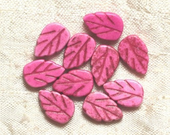 10pc - beads Turquoise synthetic leaves pink 14 mm 4558550035035