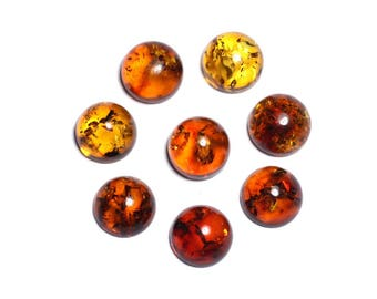 2PC - Cabochons amber natural round 6mm - 8741140003149