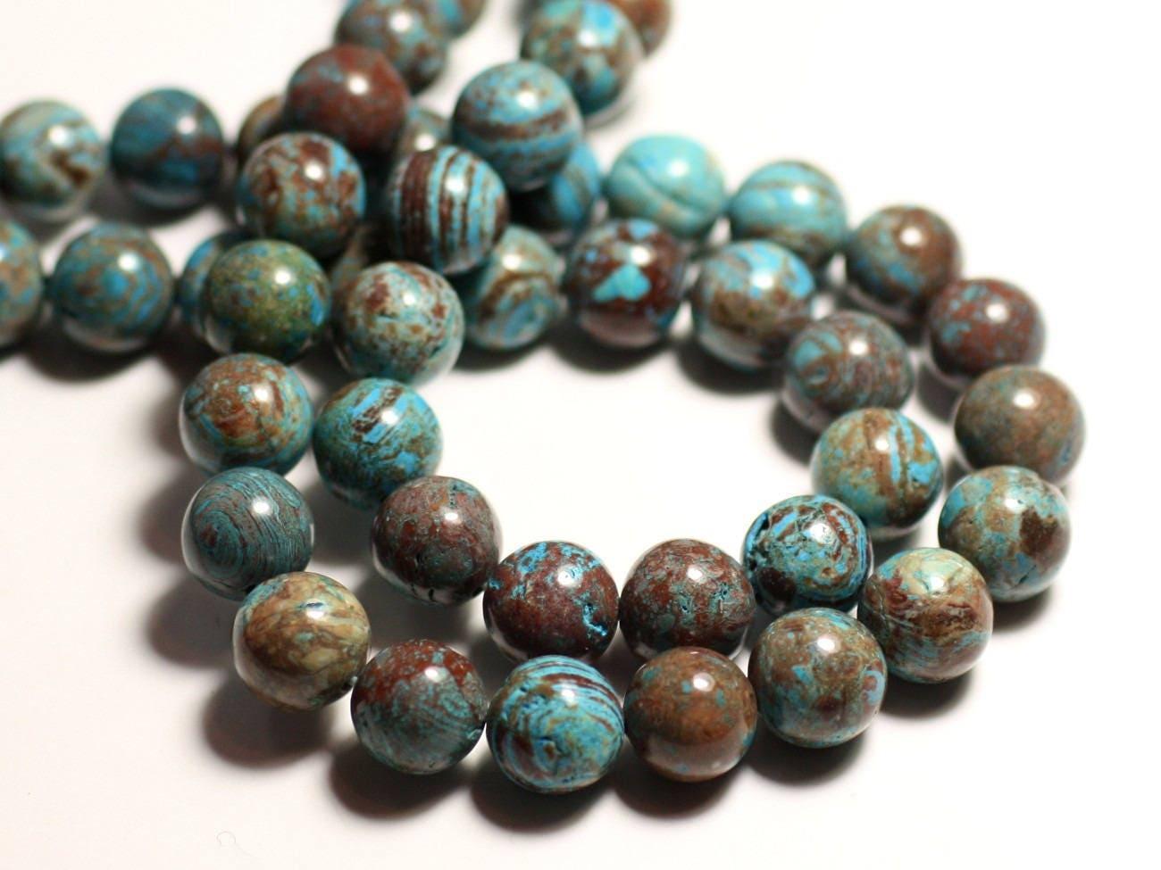 5pc perles de pierre jaspe paysage automne bleu turquoise. Black Bedroom Furniture Sets. Home Design Ideas