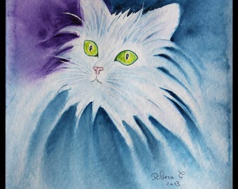 My original watercolor illustration-watercolor on ARCHES 300 g/m²petit white cat
