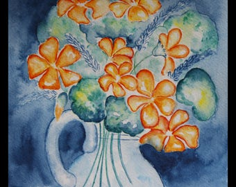 Original illustration painted in watercolor on ARCHES 300 g/m nasturtiums & Lavender sold