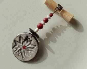 Sue mixed M/F Raku Horn pendant red gorgonian bone white