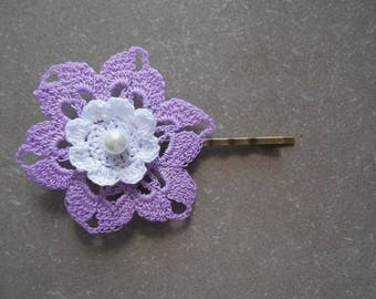 Flower Barrette violete cotton crochet with Pearl