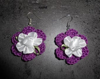Flower violete earrings crochet with satin
