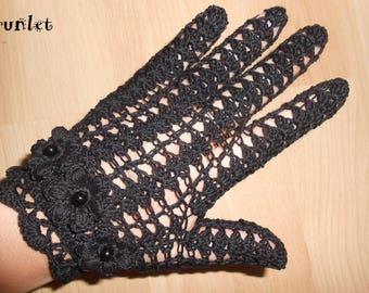 crochet black mittens for women