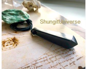Shungite pendant-pendulum,emf protection,root chakra healing and balancing,reiki,pagan,Wicca,shaman,wizard,magia,energy healing crystal