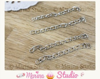 25 50x3mm silver metal extension chain