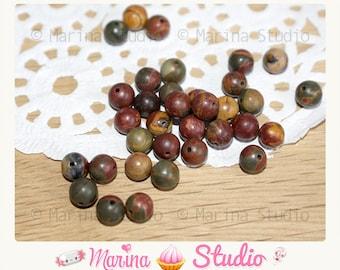 natural round 6mm - multi color - unique picasso Jasper 10 beads